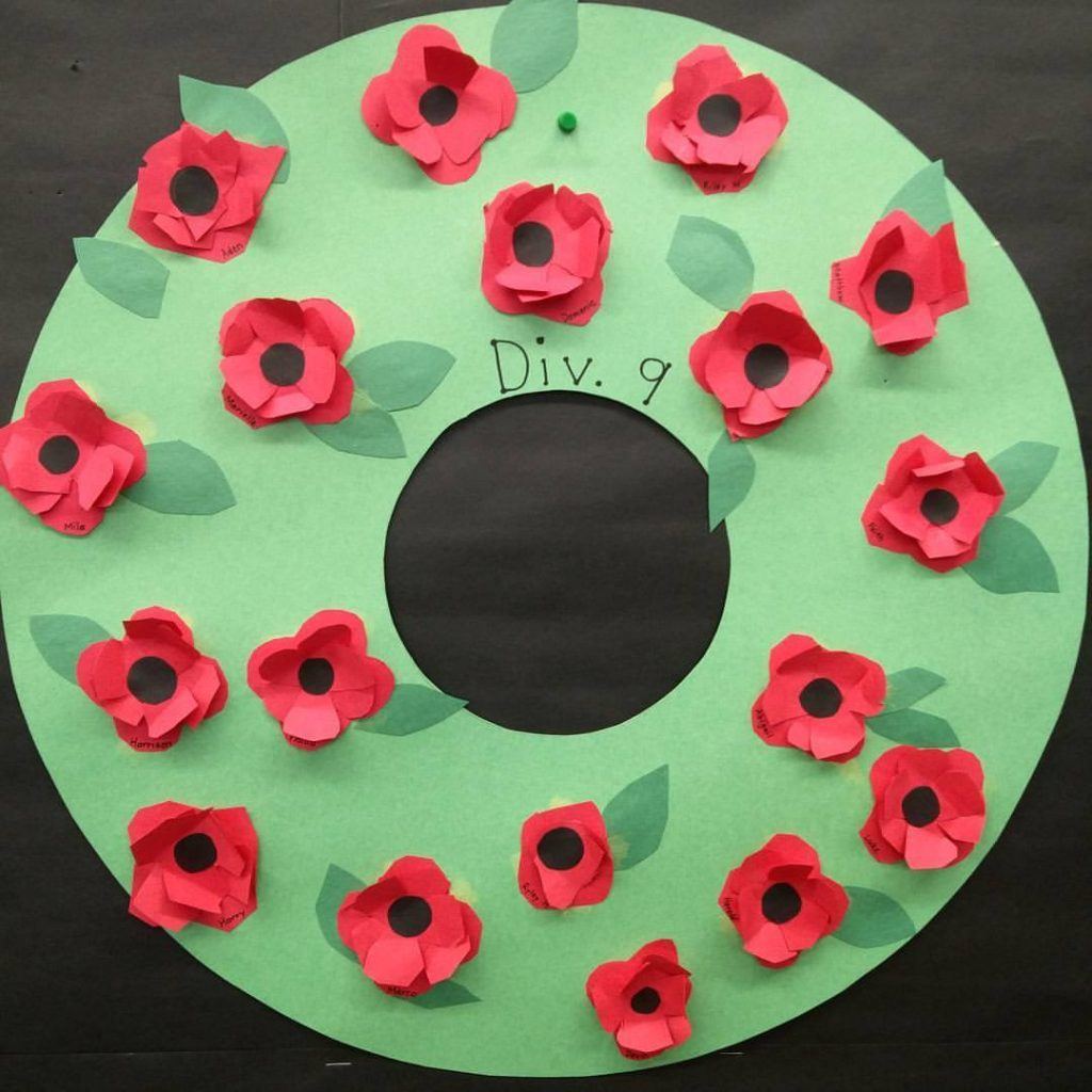 3D poppies on our class wreath