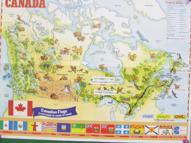 Celeting Terry Fox … – Mrs. Temple – Division 6 on laura secord map, fred hutchinson map, samuel de champlain map, mother teresa map,
